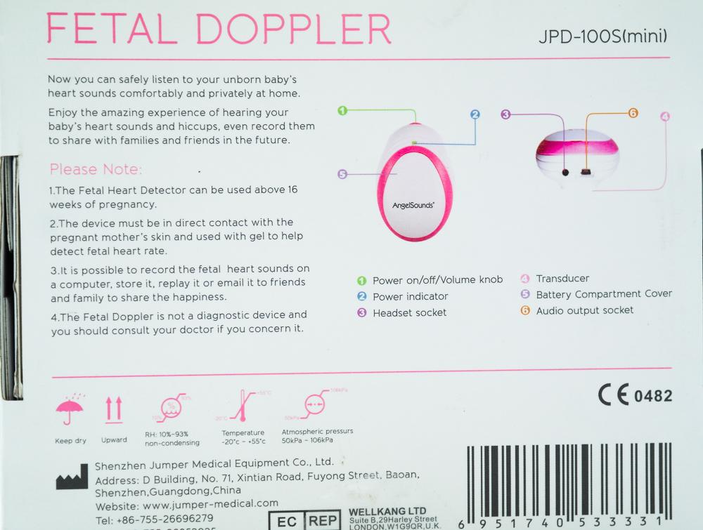 Monitor fetal doppler Angelsound JPD-100S - spatele cutiei